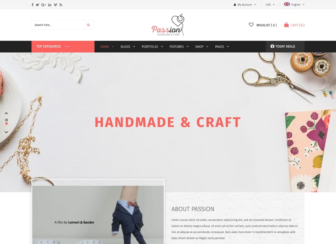 Passion | Handmade & Craft WooCommerce WordPress Theme Website Template
