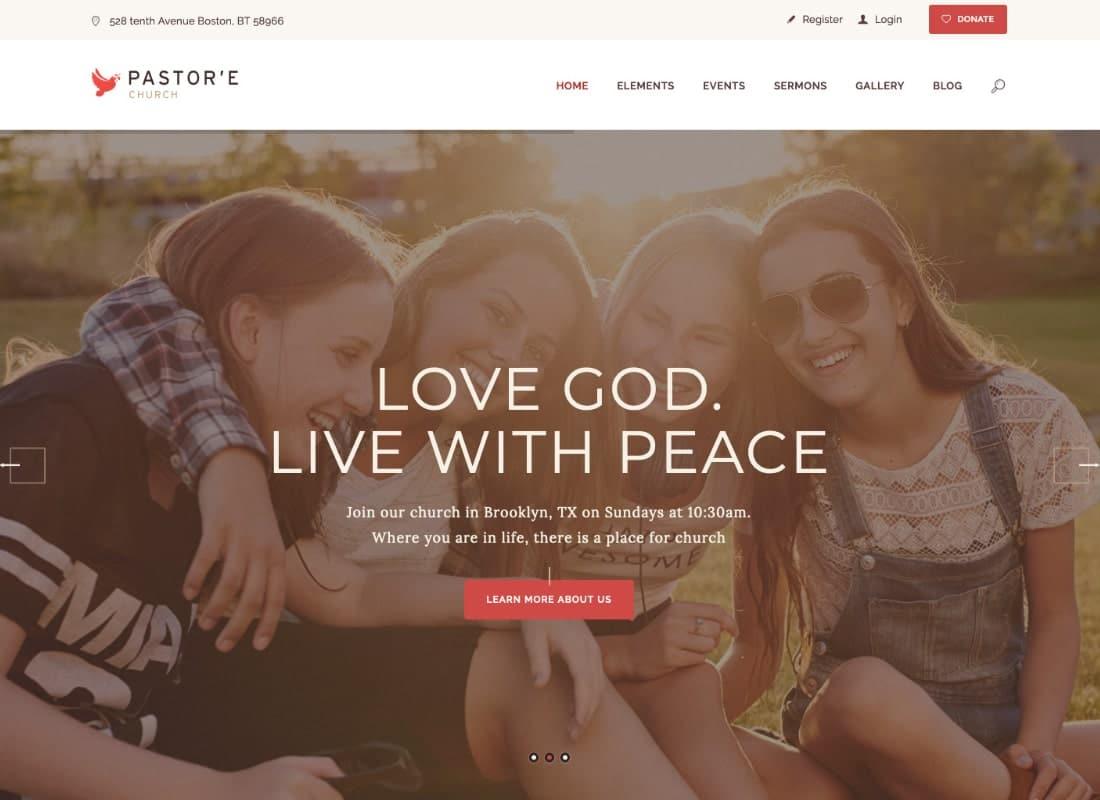 Pastor'e | Church, Religion & Charity WordPress Theme Website Template
