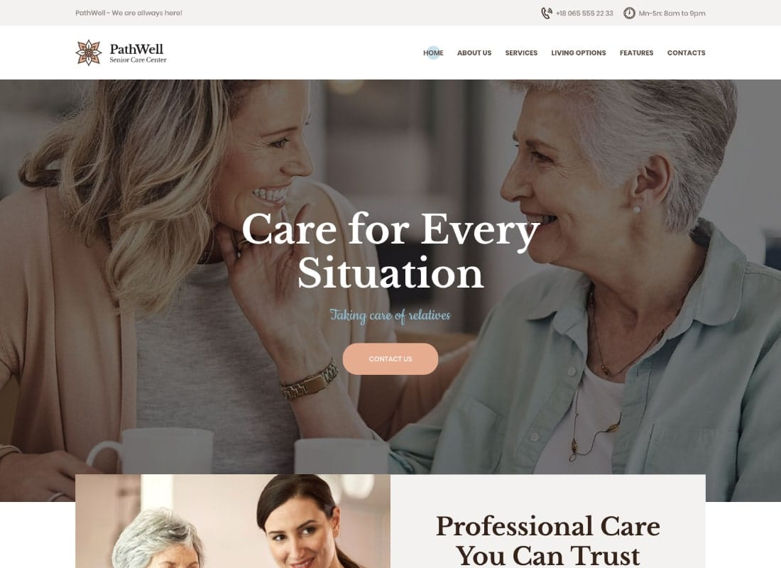PathWell | A Senior Care Hospital WordPress Theme Website Template