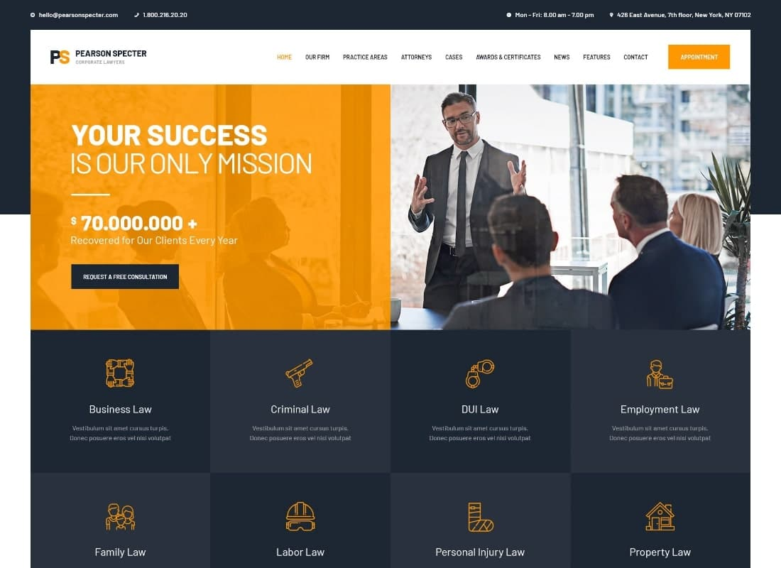 Pearson Specter   WordPress Theme for Lawyer & Attorney Website Template