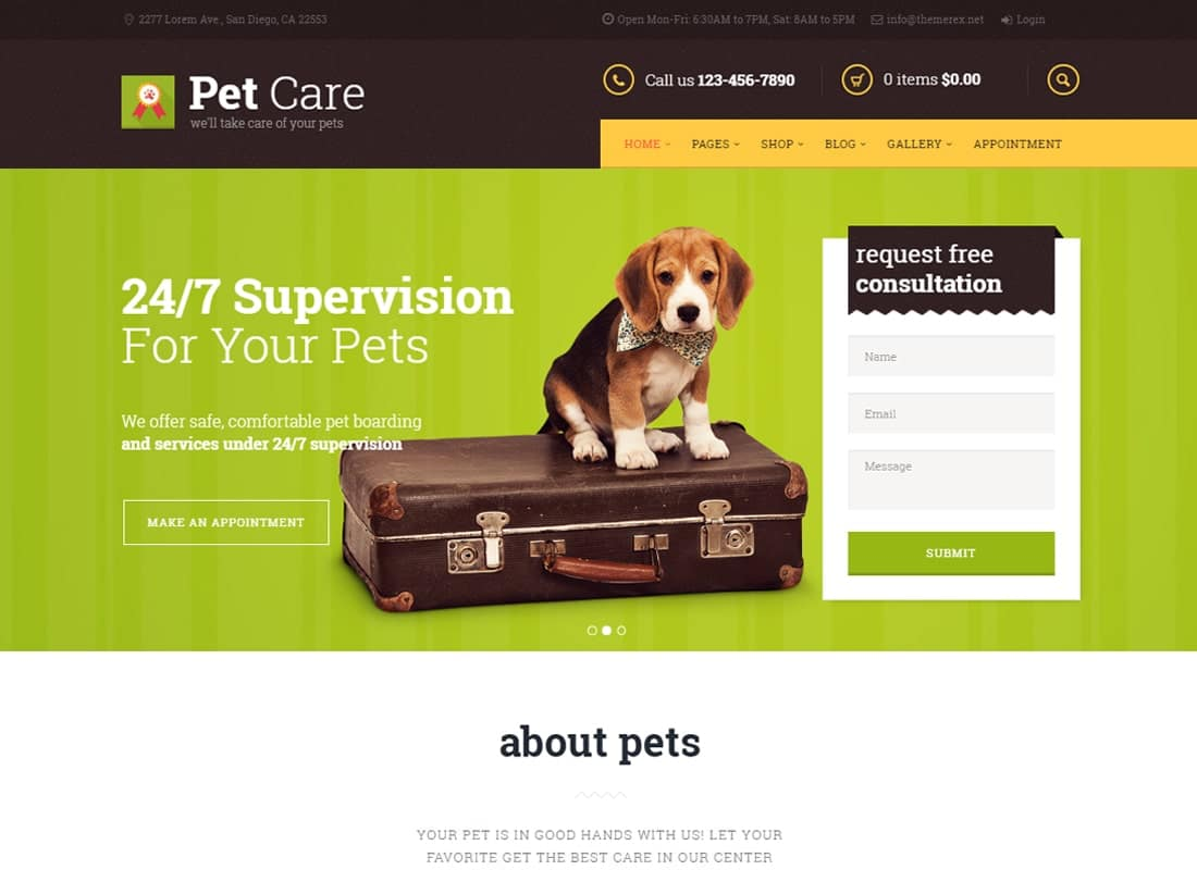 Pet Care | Grooming, Hotel, Hospital & Shop Website Template