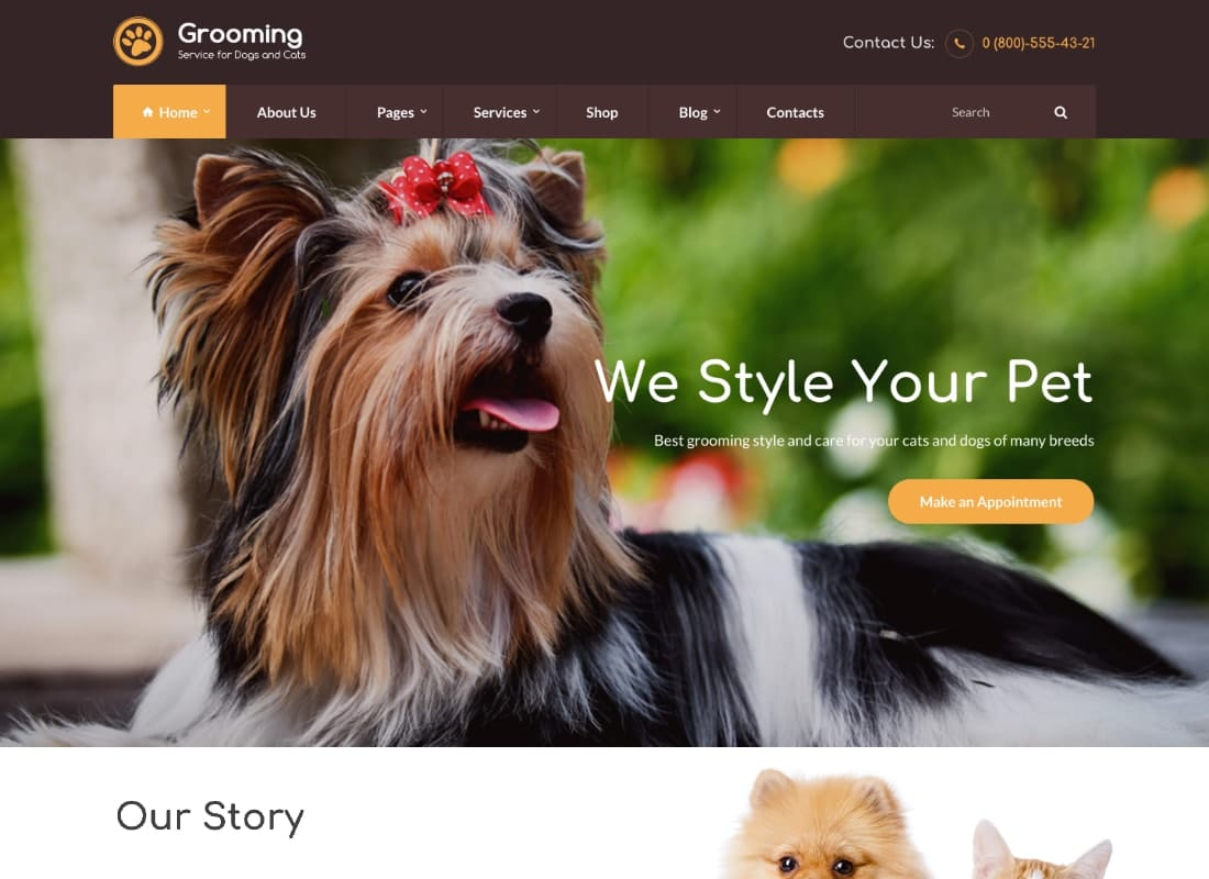 Grooming - Pet Shop & Veterinary Physician WordPress Theme Website Template