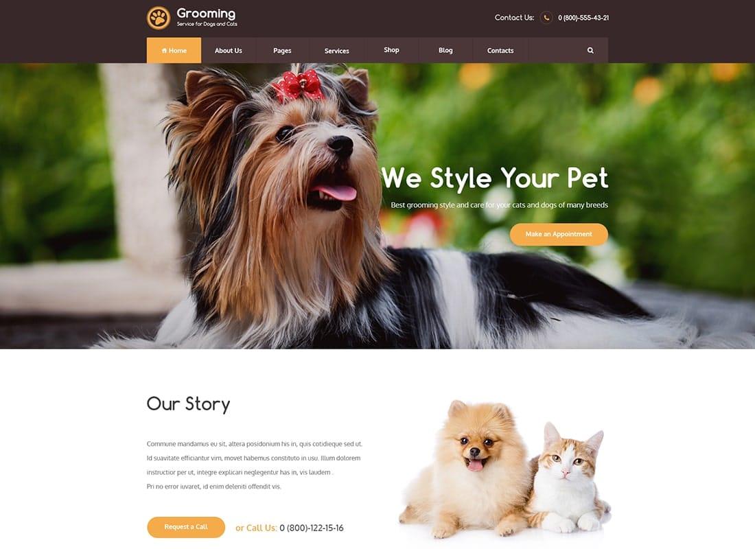 Pet Grooming / Pet Shop / Veterinary WordPress Theme Website Template