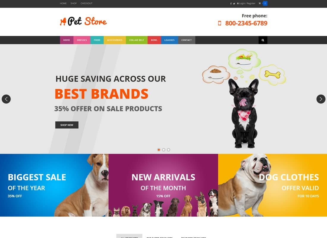Pet Store - WordPress WooCommerce Theme for pets and vets Website Template