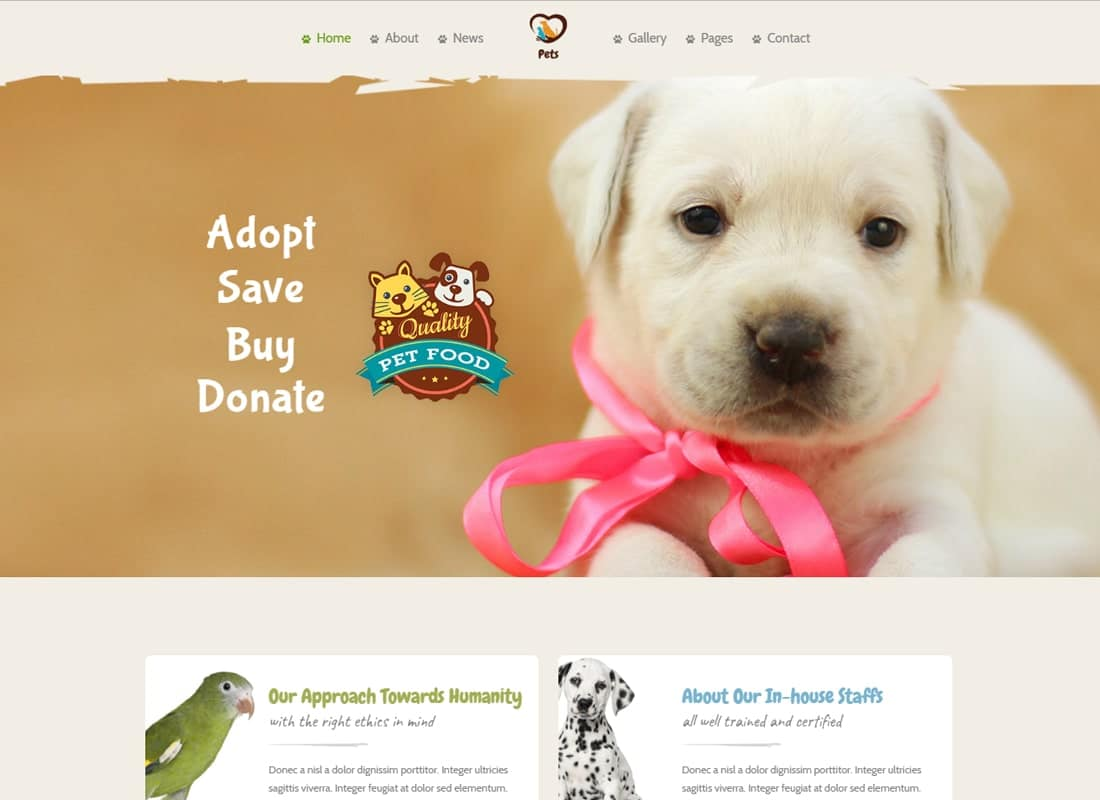Pet World - Pet Sitter and Pet Shop, Animal Care WordPress Theme Website Template