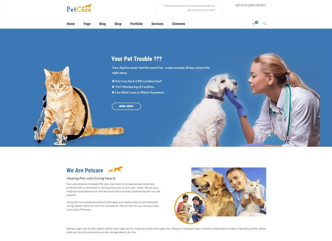 Petcare - Pet Shop and Pet Care WordPress Theme Website Template