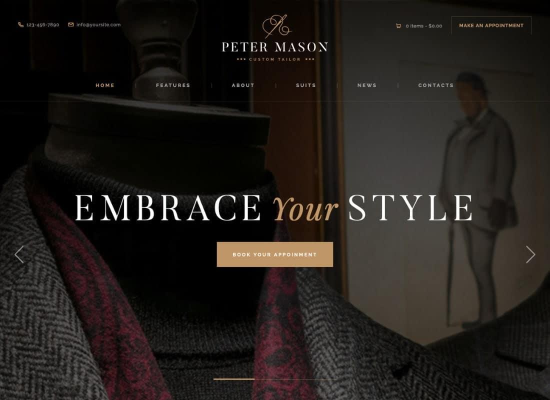 Peter Mason | Custom Tailoring and Clothing Store WordPress Theme Website Template