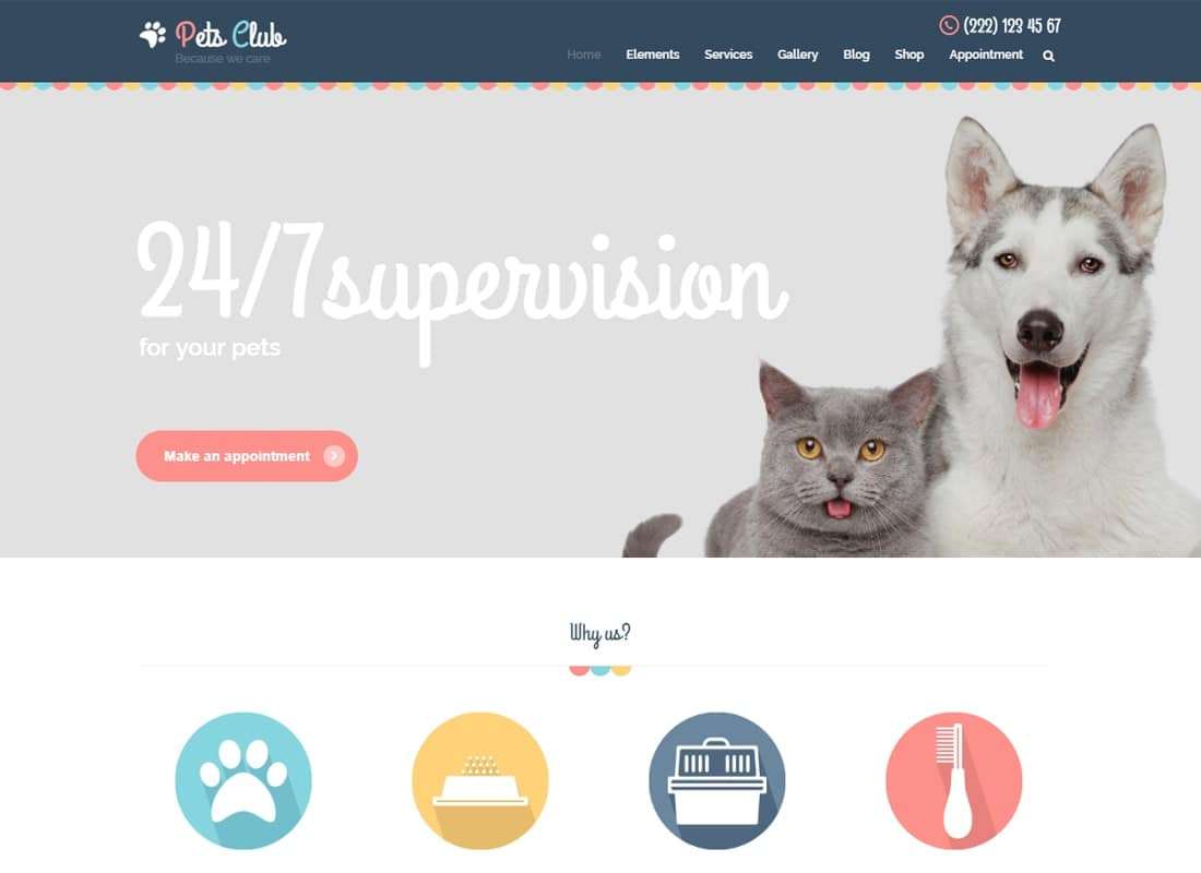 Pets Club - Pet Care, Shop & Veterinary WordPress Theme Website Template