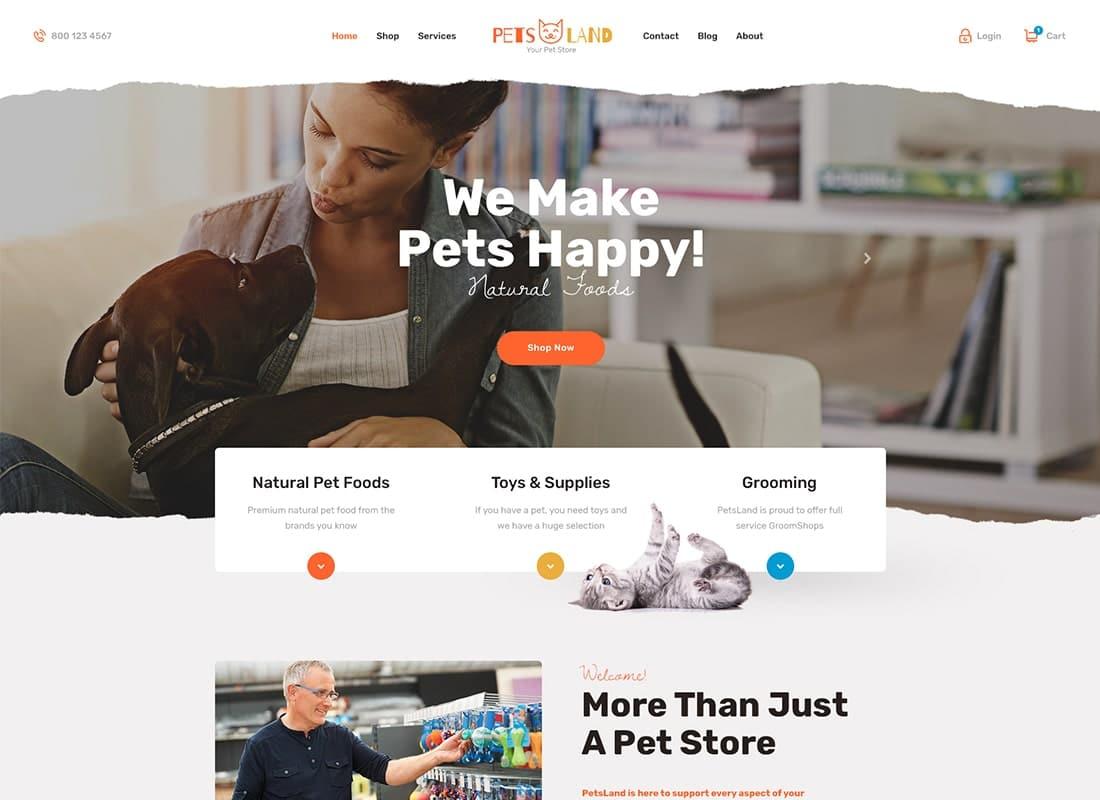 Pets Land | Pet Shop & Veterinary WordPress Theme Website Template