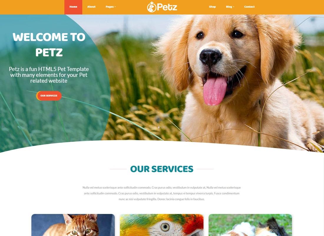 Petz - Pet Care & Veterinary Theme Website Template