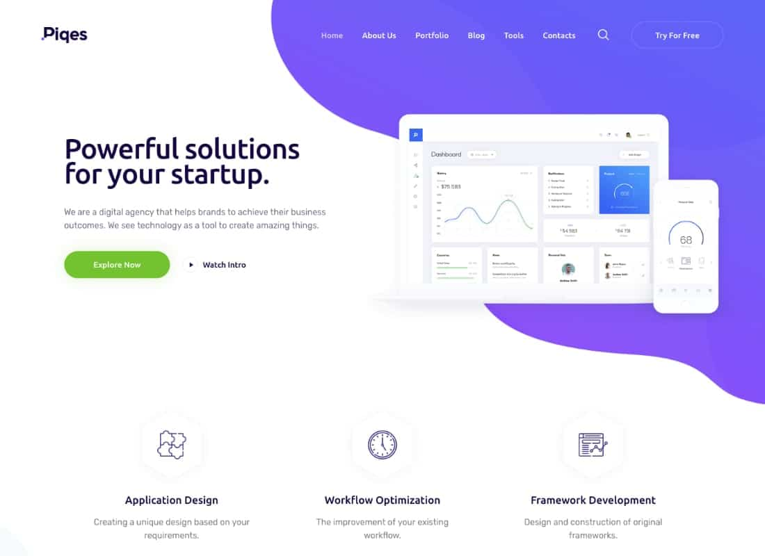 Piqes | Creative Startup & Agency WordPress Theme Website Template