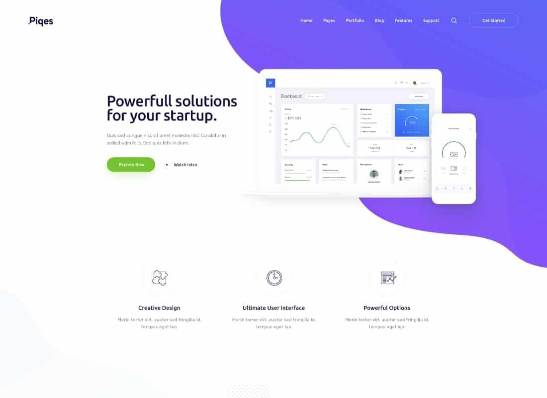 Piqes   Creative Startup & Agency WordPress Theme Website Template