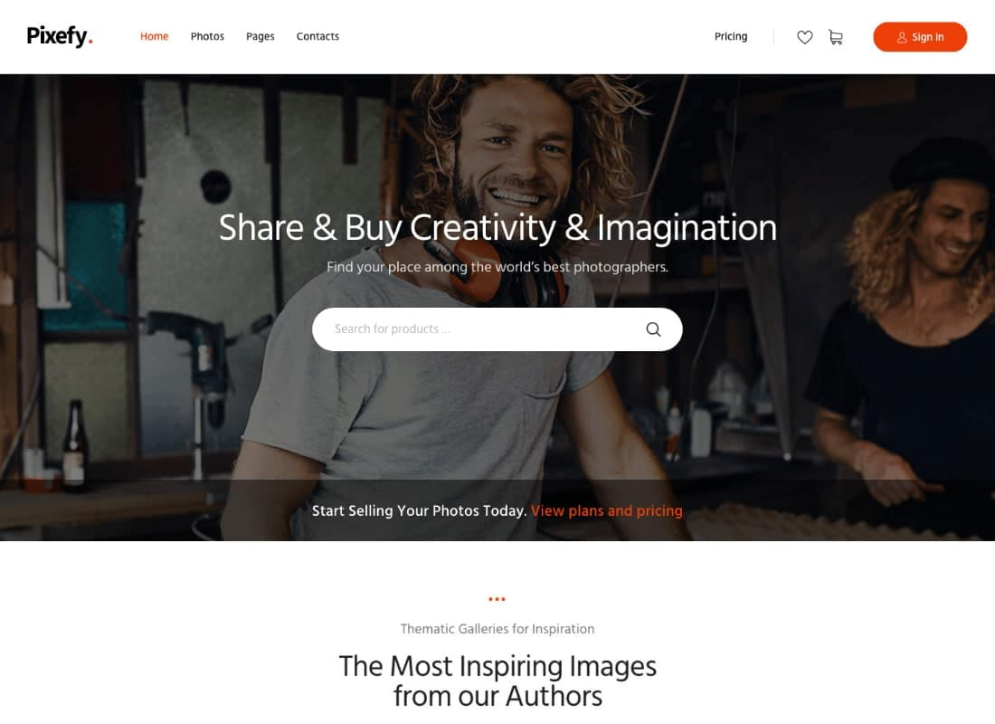 Pixefy | Stock Photography Marketplace Theme Website Template