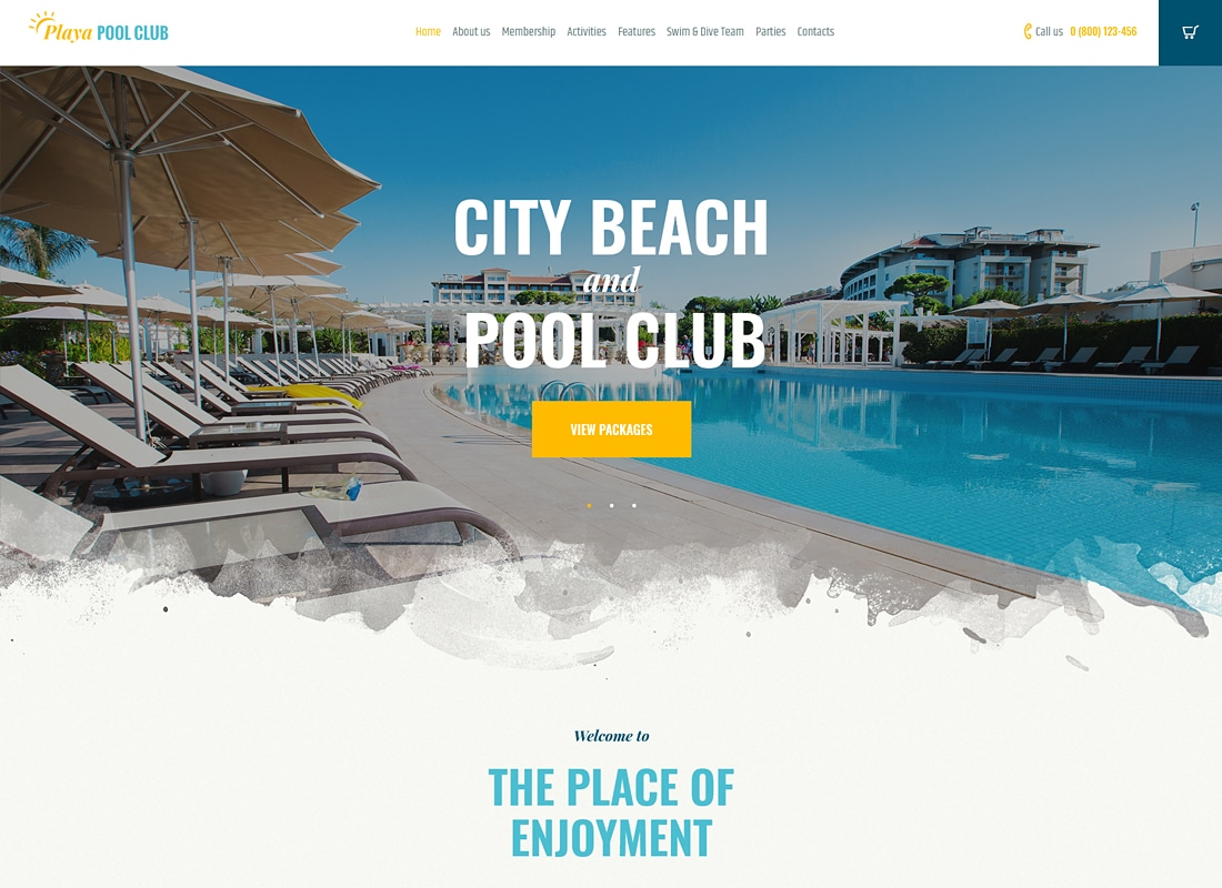 Playa | City and Private Beach & Pool Club WordPress Theme Website Template