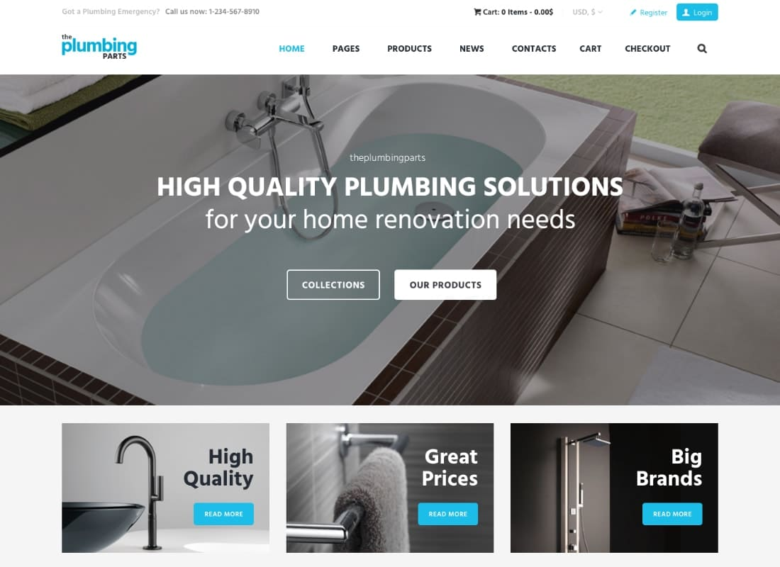 Plumbing - Repair, Building & Construction WordPress Theme Website Template