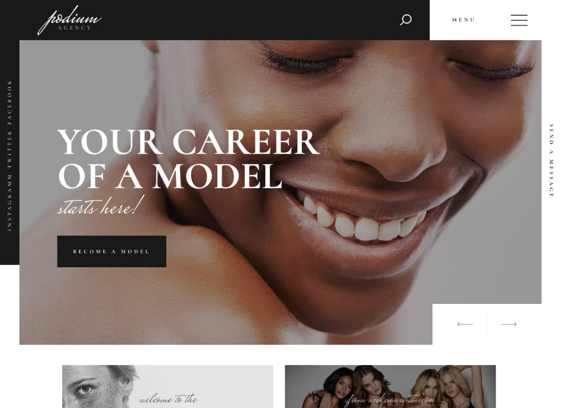 Podium | Fashion Model Agency WordPress Theme Website Template