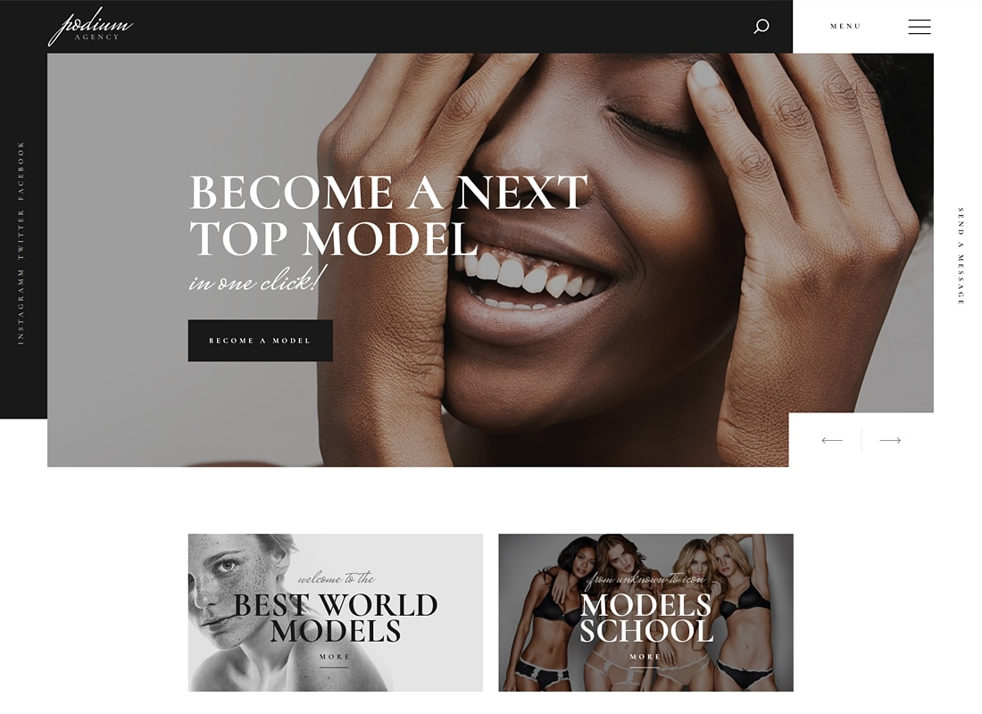Podium - Model Agency WordPress Theme   Website Template