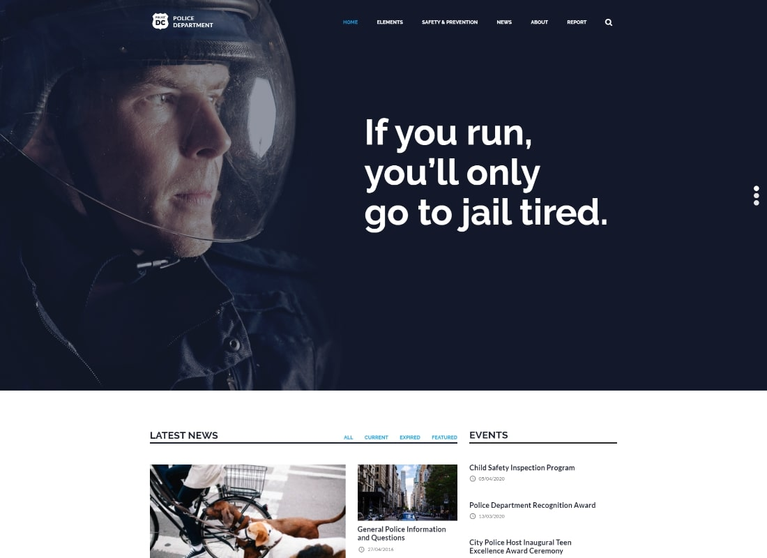 Police & Fire Departments and Security Business WordPress Theme Website Template