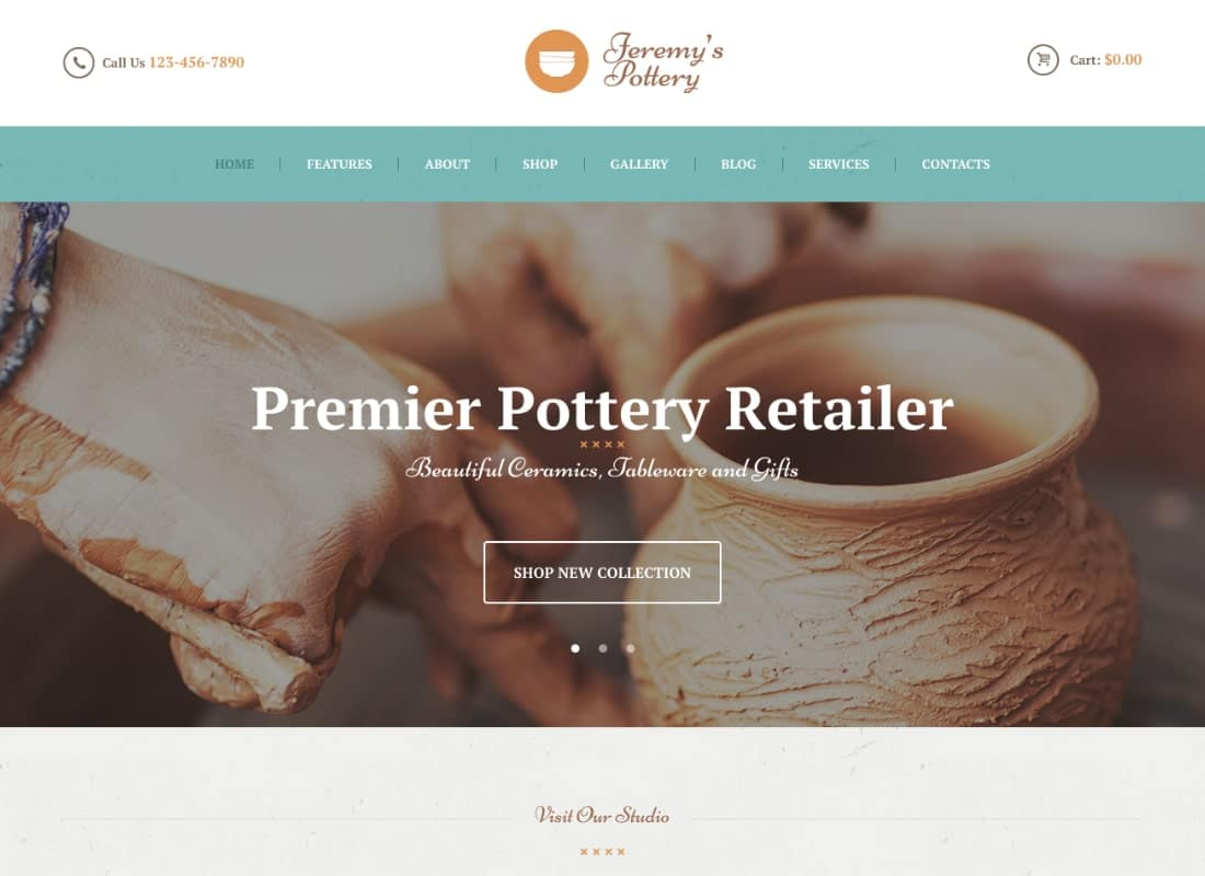 Pottery and Ceramics Handmade WordPress Theme Website Template