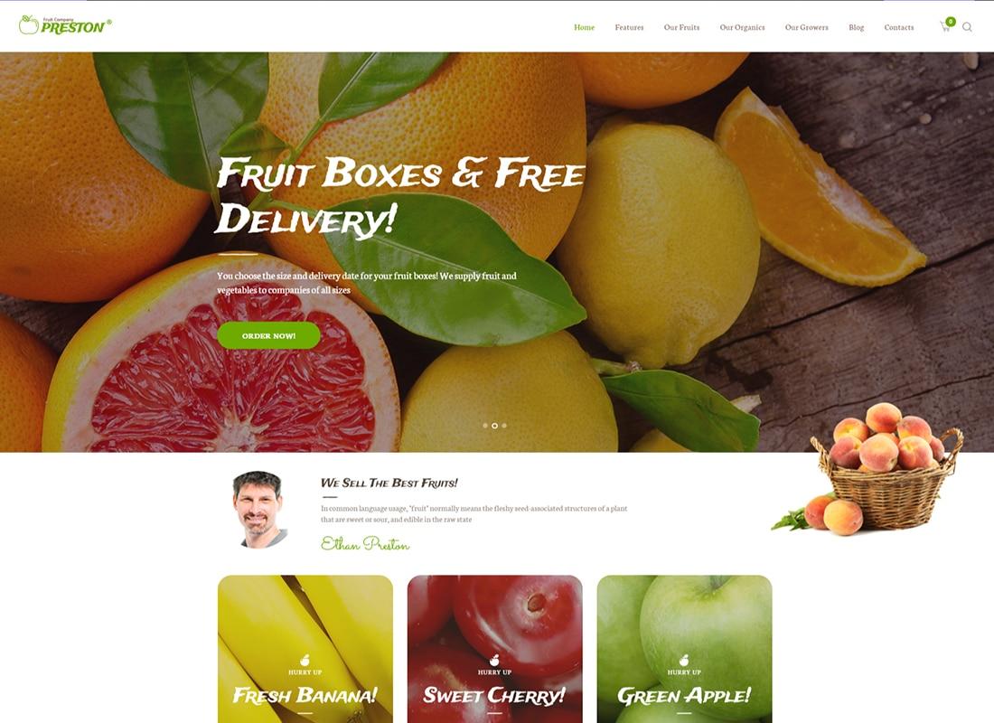 Preston - Fruit Company & Organic Farming WordPress Theme   Website Template