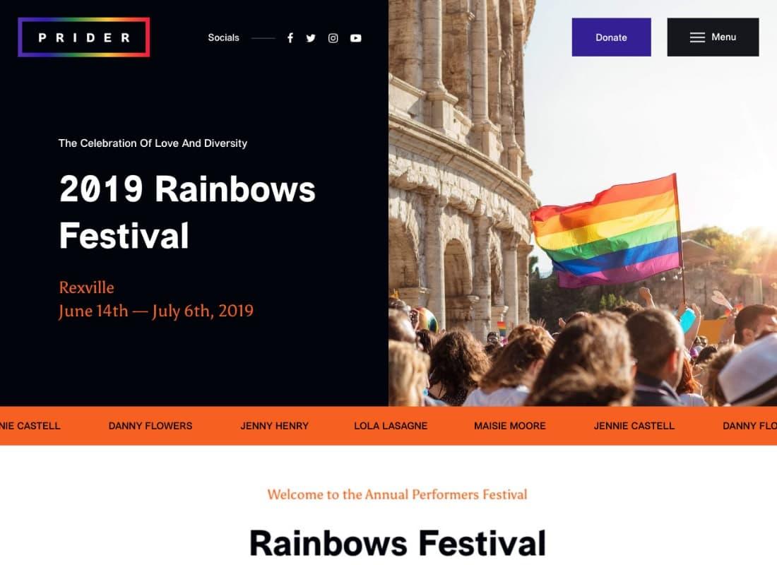 Prider | LGBT & Gay Rights Festival WordPress Theme + Bar Website Template