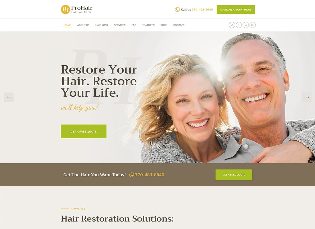 ProHair - Hair Loss Clinic & Cosmetology WordPress Theme   Website Template