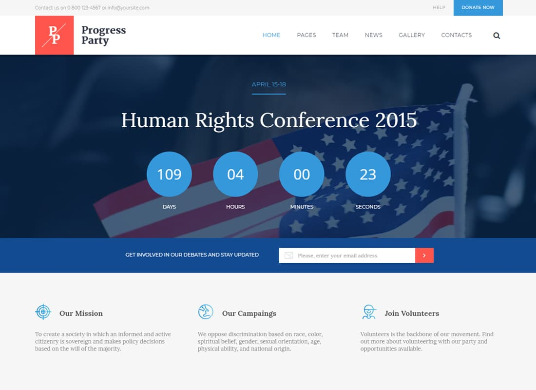 ProParty | A Clean Political WordPress theme Website Template