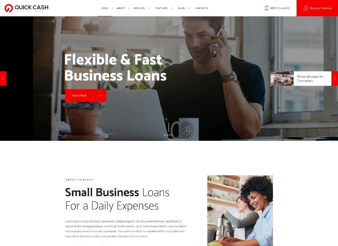 Quick Cash   Loan Company & Finance Advisor WordPress Theme Website Template