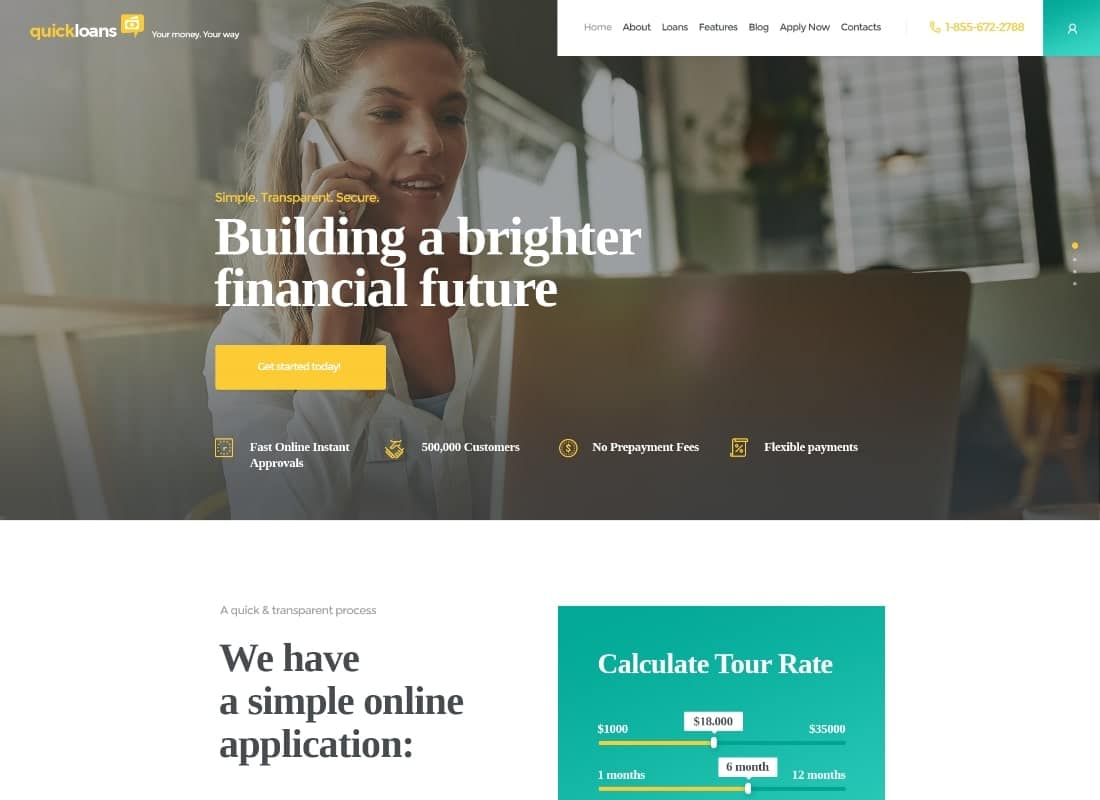 QuickLoans   Loan Company WordPress Theme Website Template