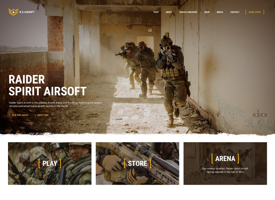 Raider Spirit   Airsoft Club & Paintball WordPress Theme Website Template