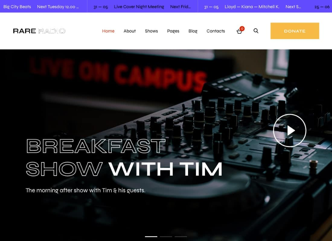 Rare Radio | Online Music Radio Station & Podcast WordPress Theme Website Template