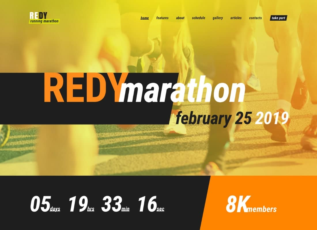 Redy | Marathon & Sports WordPress Theme Website Template