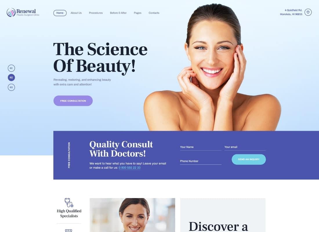 Renewal | Plastic Surgery Clinic Medical WordPress Theme Website Template