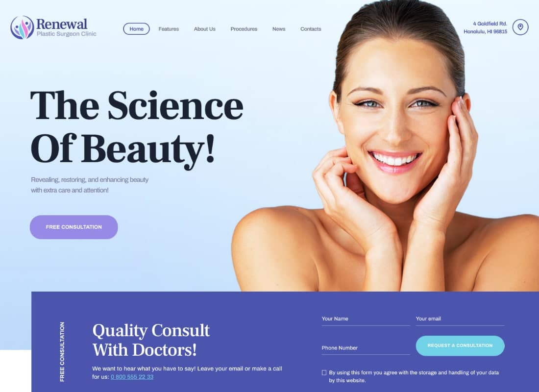 Renewal | Plastic Surgery Clinic Medical WordPress Theme Website Template