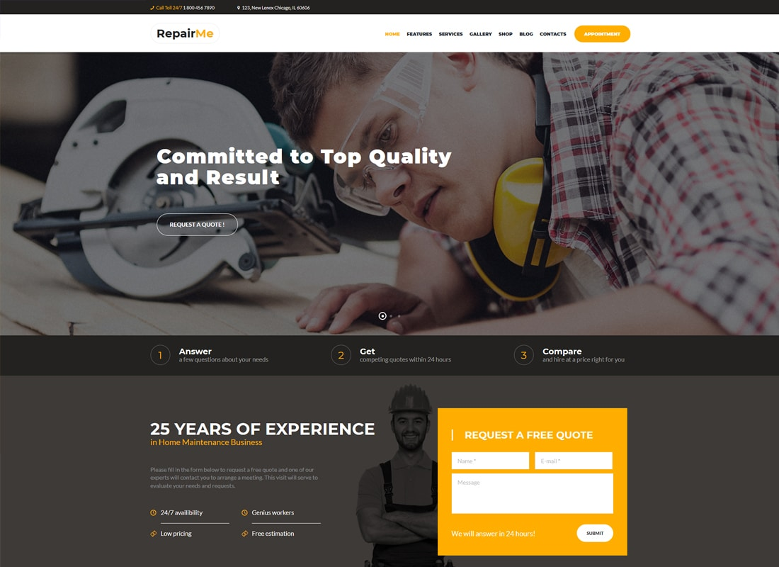 RepairMe - A Vibrant Construction, Renovation & Building WordPress Theme Website Template