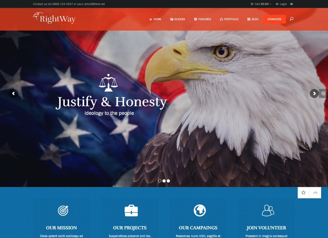 Right Way | Election Campaign and Political Candidate WordPress Theme Website Template