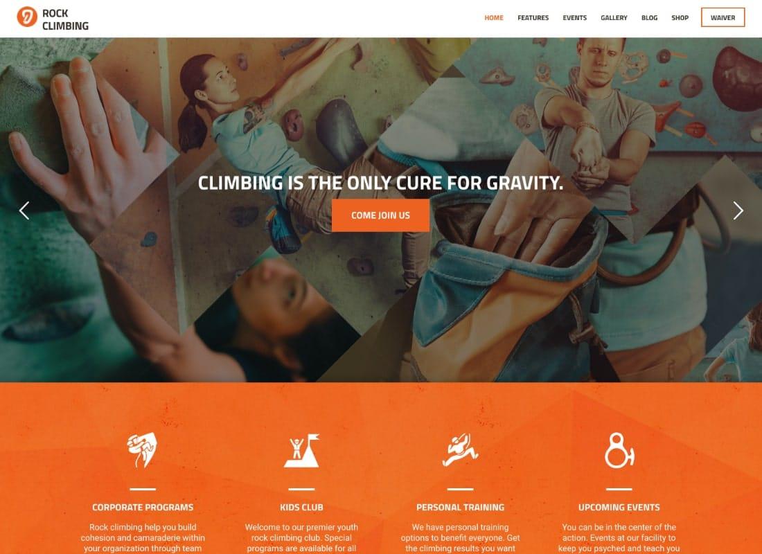 Rock & Wall Climbing | Sport Club WordPress Theme Website Template