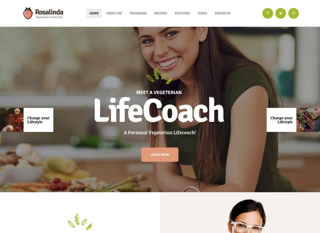 Rosalinda | Health Coach & Vegetarian Lifestyle Blog WordPress Theme Website Template