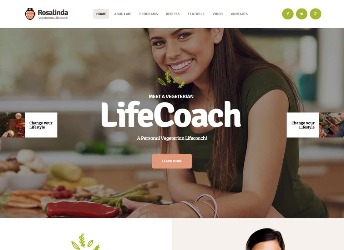 Rosalinda | Health Coach & Vegetarian Lifestyle Blog WordPress Theme Website Template