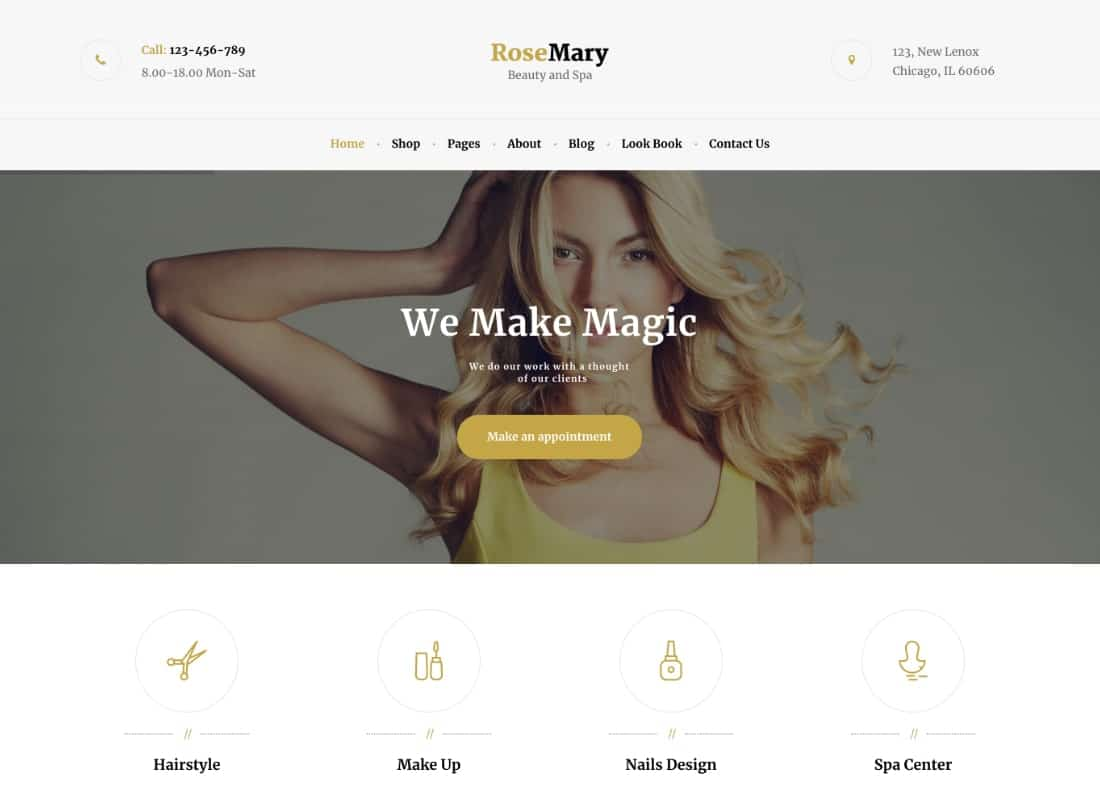 RoseMary - A Refined Hair, Beauty & Spa Salon WordPress Theme Website Template