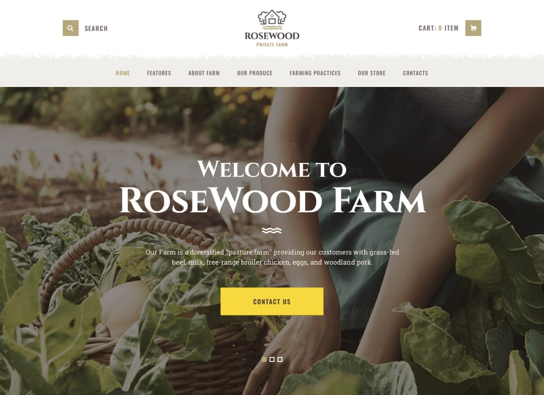 Rosewood | Organic Farming WordPress Theme Website Template