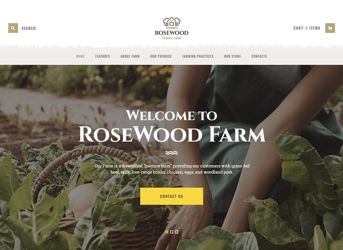 Rosewood - Organic Farming WordPress Theme   Website Template