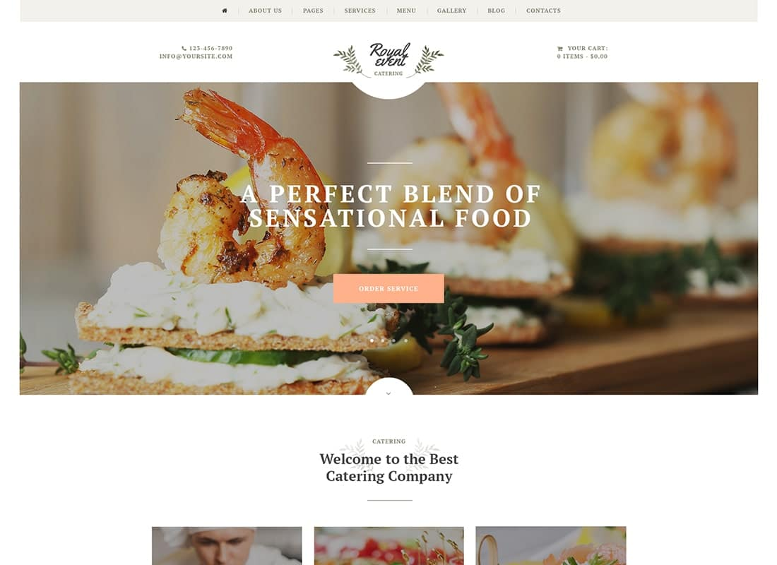 Royal Event - Event Planner & Catering Company WordPress Theme Website Template