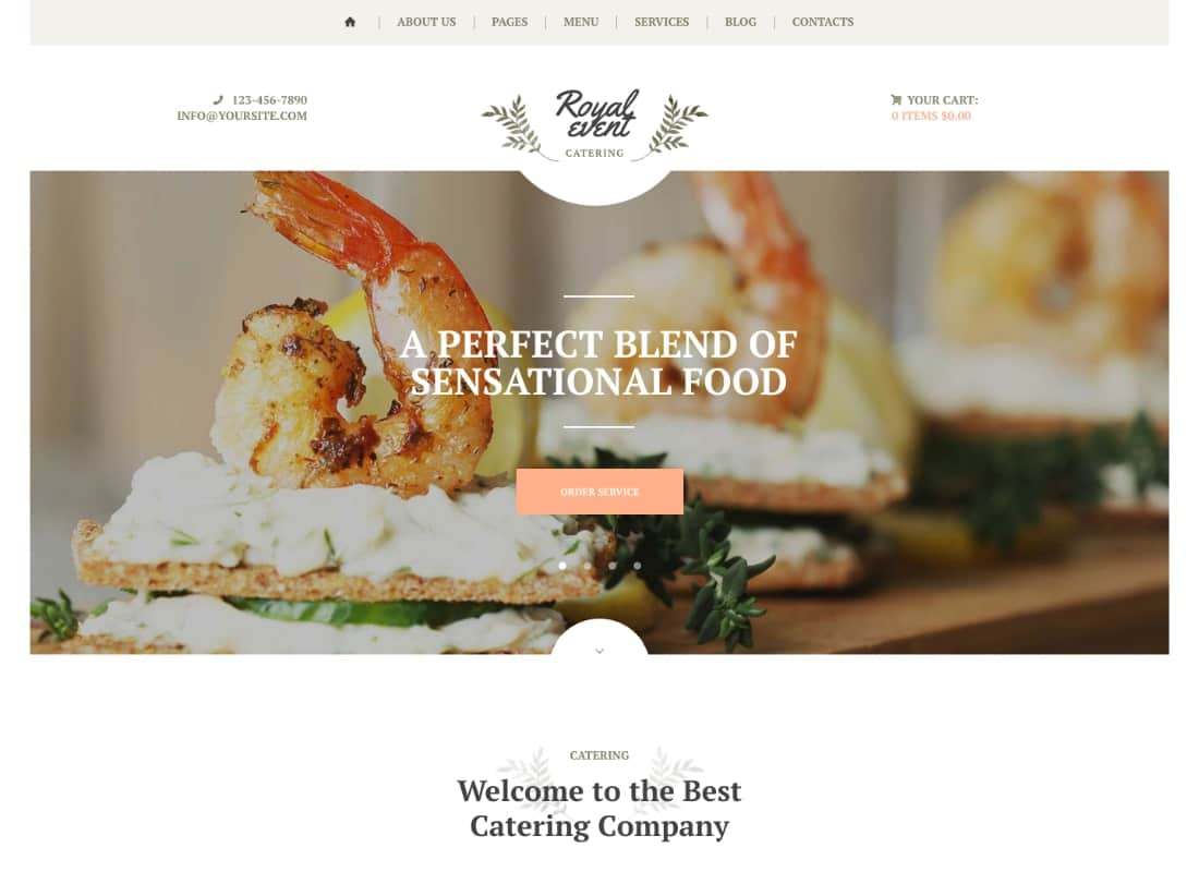 Royal Event | Event Planner & Catering Company WordPress Theme Website Template