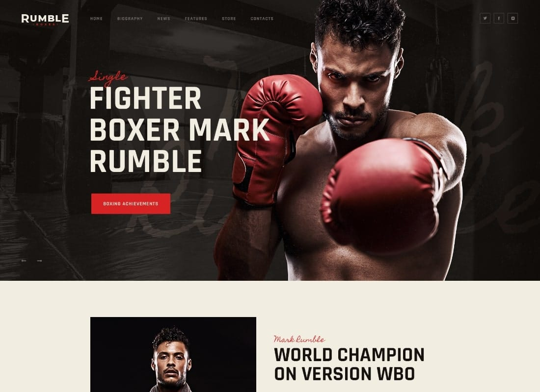 Rumble   Boxing & Mixed Martial Arts Fighting WordPress Theme Website Template