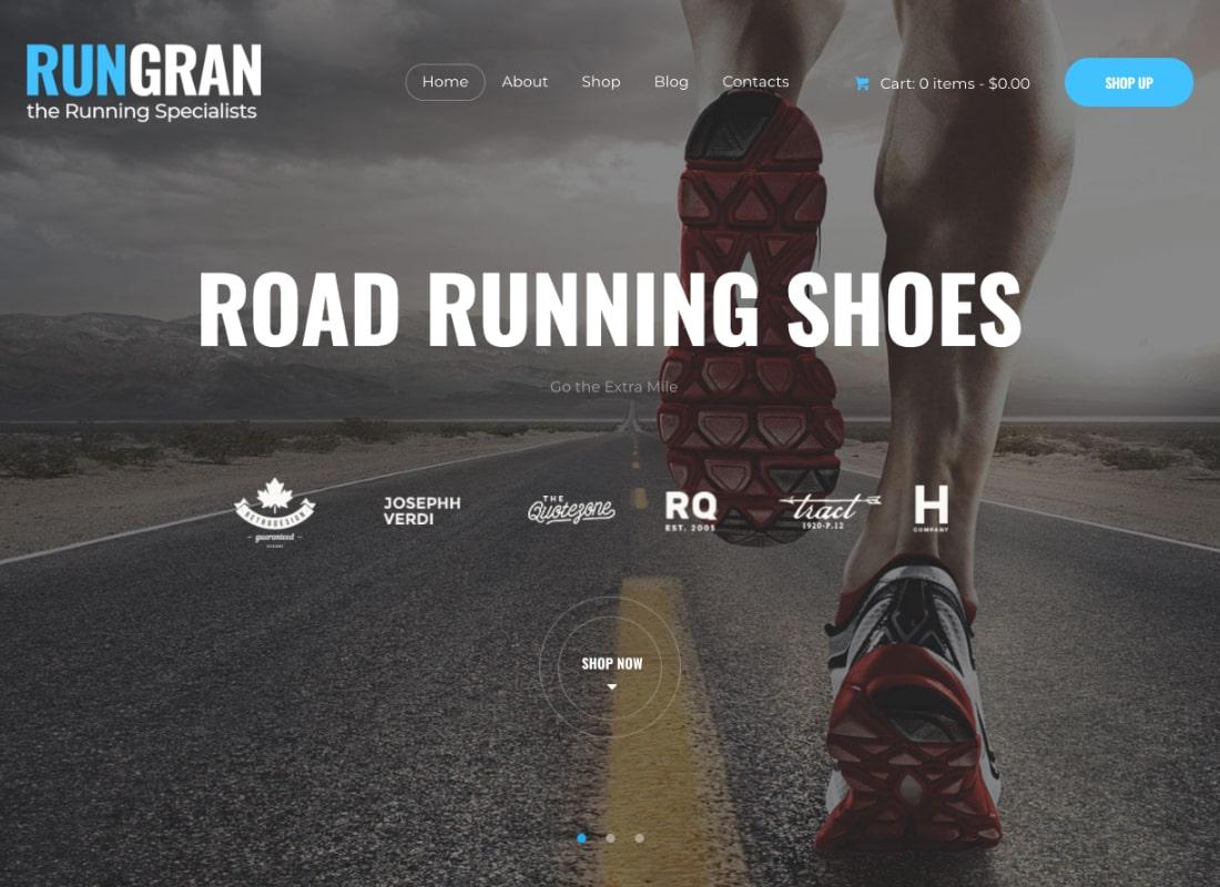 Run Gran | Sports Apparel & Gear Store WordPress Theme Website Template