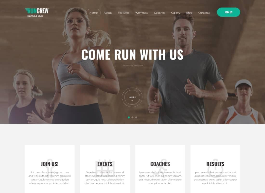RunCrew | Running Club, Marathon & Sports WordPress Theme Website Template