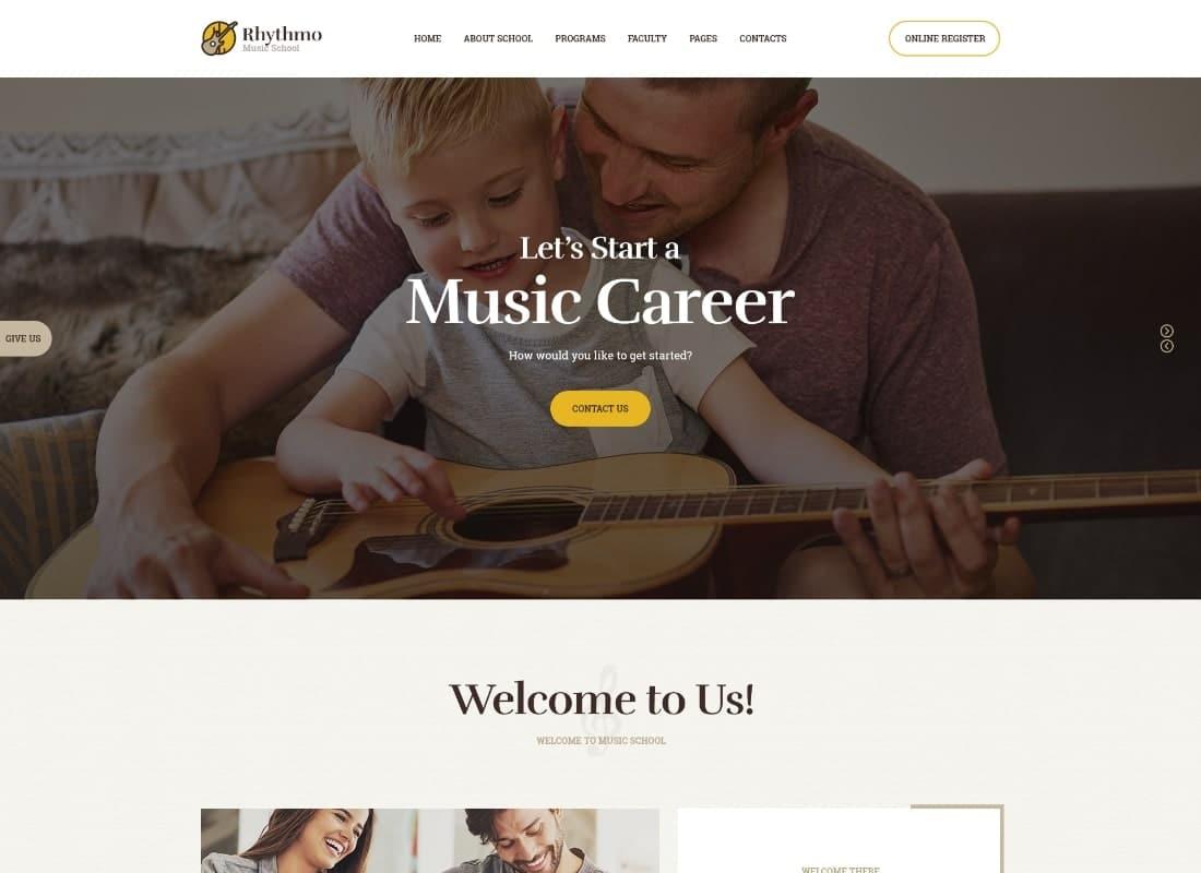 Rythmo | Music School WordPress Theme Website Template