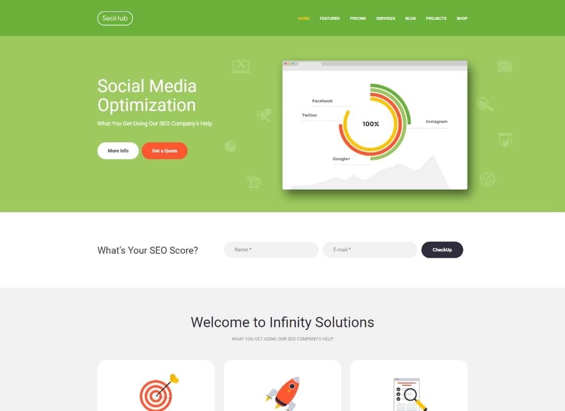 SEOHub - A Colorful SEO & Marketing Agency WordPress Theme Website Template