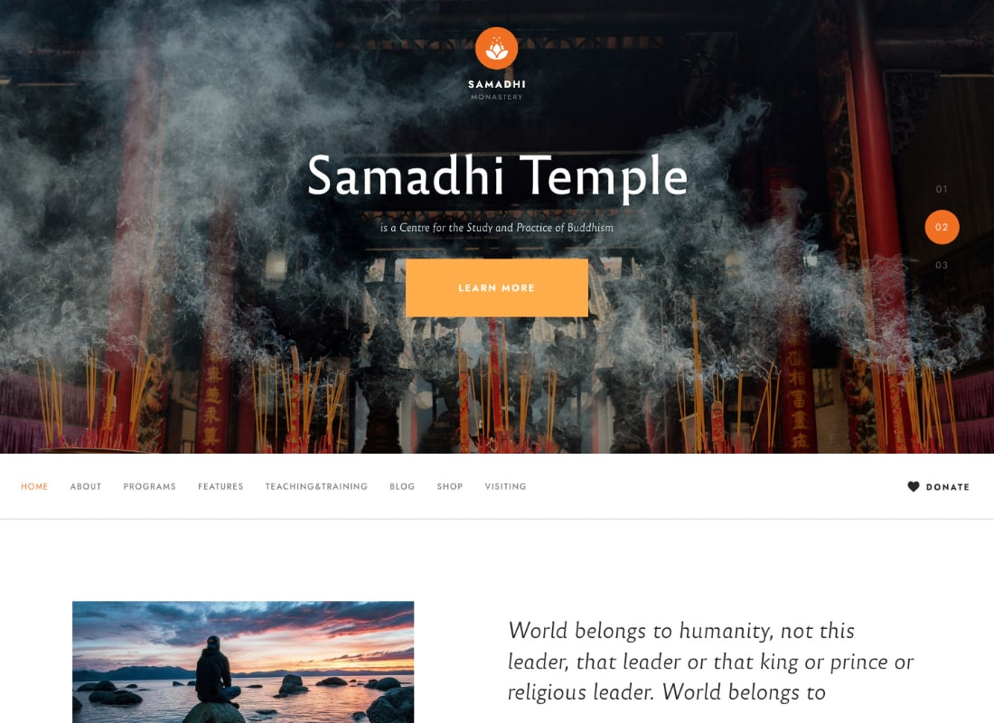 Samadhi | Oriental Buddhist Temple WordPress Theme Website Template